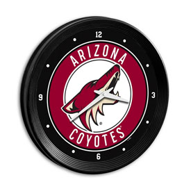 Arizona Coyotes: Ribbed Frame Wall Clock