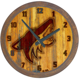 "Arizona Coyotes: Branded ""Faux"" Barrel Top Wall Clock"