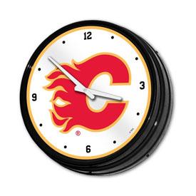 Calgary Flames: Illuminated Retro Diner Wall Clock