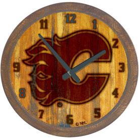 "Calgary Flames: Branded ""Faux"" Barrel Top Wall Clock"