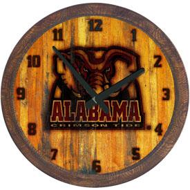 "Alabama Crimson Tide: Al Logo - Branded ""Faux"" Barrel Top Wall Clock"