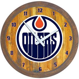 "Edmonton Oilers: ""Faux"" Barrel Top Wall Clock"