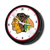 Chicago Blackhawks: Illuminated Retro Diner Wall Clock