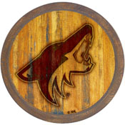 "Arizona Coyotes: Branded ""Faux"" Barrel Top Sign"