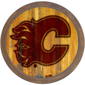 """Calgary Flames: Branded """"Faux"""" Barrel Top Sign"""