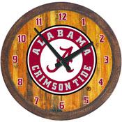 """Alabama Crimson Tide: Al Logo - """"Faux"""" Barrel Top Wall Clock"""