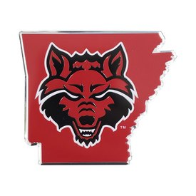 "Arkansas State University Embossed State Emblem 3.25 x 3.25 - ""Red Wolf"" Logo / Shape of Arkansas"