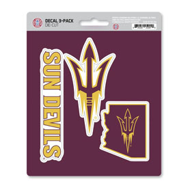 Arizona State University Decal 3-pk 5 x 6.25 - 3 Various Logos / Wordmark
