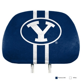 """Brigham Young Printed Headrest Cover 14 x 10 - """"Oval Y"""" Primary Logo"""