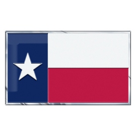 """Texas, State of Embossed State Flag Emblem 2"""" x 3.5"""" - Texas State Flag"""
