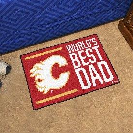 """Calgary Flames Starter Mat - World's Best Dad - 19""""x30"""""""