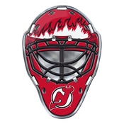 NHL - New Jersey Devils Embossed Helmet Emblem 3.25 x 3.25 - Hockey Mask with Primary Logo