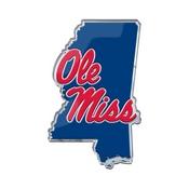 University of Mississippi (Ole Miss) Embossed State Emblem 3.25 x 3.25 -