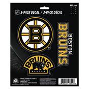 NHL - Boston Bruins Decal 3-pk 5 x 6.25 - 3 Various Logos / Wordmark
