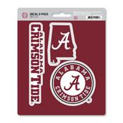 University of Alabama Decal 3-pk 5 x 6.25 - 3 Various Logos / Wordmark