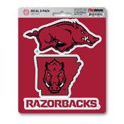 University of Arkansas Decal 3-pk 5 x 6.25 - 3 Various Logos / Wordmark