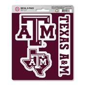 Texas A&M University Decal 3-pk 5 x 6.25 - 3 Various Logos / Wordmark