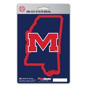 University of Mississippi (Ole Miss) State Shape Decal 5 x 6.25 -