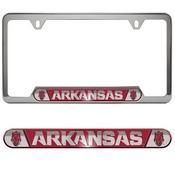 University of Arkansas Embossed License Plate Frame 12.25 x 6.25 - Primary Logo and Wordmark