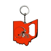 NFL - Cleveland Browns Keychain Bottle Opener 3 x 3 - Browns Primary Logo / Shape of Ohio
