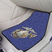 Marines 3D Logo 2-pc Carpeted Car Mats 17x27