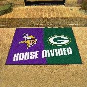 NFL - Minnesota Vikings/Green Bay Packers House Divided Rugs 33.75x42.5
