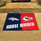 NFL - Denver Broncos/Kansas City Chiefs House Divided Rugs 33.75x42.5