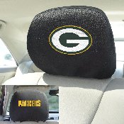 NFL - Green Bay Packers Head Rest Cover 10Inchx13Inch - 2 Pcs Per Set