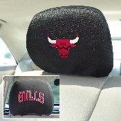 NBA - Chicago Bulls Head Rest Cover 10Inchx13Inch - 2 Pcs Per Set