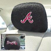 MLB - Atlanta Braves Head Rest Cover 10Inchx13Inch - 2 Pcs Per Set