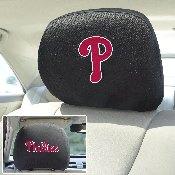 MLB - Philadelphia Phillies Head Rest Cover 10Inchx13Inch - 2 Pcs Per Set
