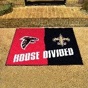 NFL - Atlanta Falcons - New Orleans Saints House Divided Rugs 33.75x42.5
