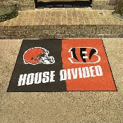 NFL - Cincinnati Bengals - Cleveland Browns House Divided Rugs 33.75x42.5