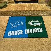 NFL - Detroit Lions - Green Bay Packers House Divided Rugs 33.75x42.5