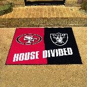 NFL - San Francisco 49ers - Las Vegas Raiders House Divided Rugs 33.75x42.5