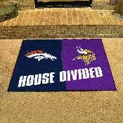 NFL - Denver Broncos/Minnesota Vikings House Divided Rugs 33.75x42.5