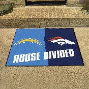 NFL - San Diego Chargers/Denver Broncos House Divided Rugs 33.75x42.5