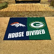 NFL Broncos / Packers House Divided Rug 33.75x42.5
