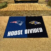 NFL Patriots / Ravens House Divided Rug 33.75x42.5