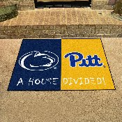 Penn State / Pittsburgh House Divided Rug 33.75x42.5