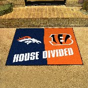 NFL - Denver Broncos/Cincinati Bengals House Divided Rugs 33.75x42.5
