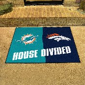 Dolphins / Broncos House Divided Rugs 33.75x42.5