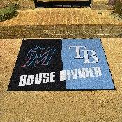 MLB - Marlins - Rays House Divided Rug 33.75x42.5