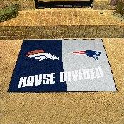 NFL - Broncos / Patriots House Divided Rug 33.75x42.5