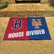 MLB - Red Sox - Mets House Divided Rug 33.75x42.5
