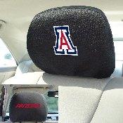 University of Arizona Head Rest Cover 10Inchx13Inch - 2 Pcs Per Set