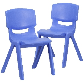 """2 Pack Blue Plastic Stackable School Chair with 15.5"""" Seat Height"""