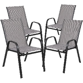 4 Pack Brazos Series Gray Outdoor Stack Chair with Flex Comfort Material and Metal Frame