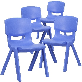 4 Pack Blue Plastic Stackable School Chair with 15.5'' Seat Height