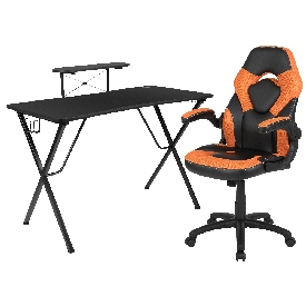 Black Gaming Desk and Orange/Black Racing Chair Set with Cup Holder, Headphone Hook, and Monitor/Smartphone Stand